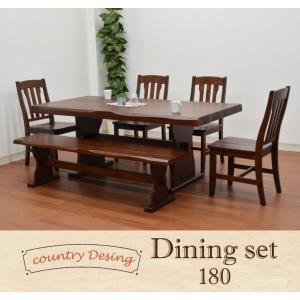 浮作りうずくりカントリー ダイニングテーブル セット 6点 ベンチ 180 ブラウン色イス4+165ベンチpet368 161|takara21