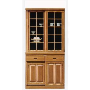 幅90cm 食器棚 引き戸 完成品 高さ180cm ナチュラル色 hid-239 スライド扉 ダイニングボード キッチン 収納|takara21