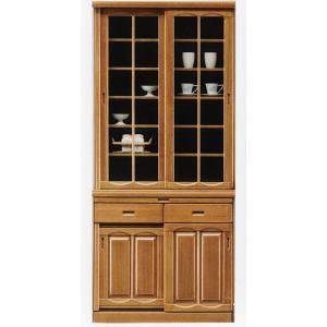 幅90cm 食器棚 引き戸 完成品 高さ200cm ナチュラル色 hid-239 スライド扉 ダイニングボード キッチン 収納|takara21