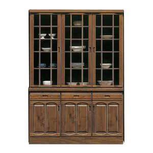 幅135cm 食器棚 開き戸 出窓タイプ santan 006-239 完成品 木製 上下重ね式 国産  カップボード ダイニングボード 小物収納|takara21