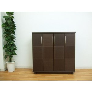 2人で搬入 120シューズボックス 下駄箱 morisu  ウォールナット ブラウン色 ボルドー 004-265 国産 完成品|takara21