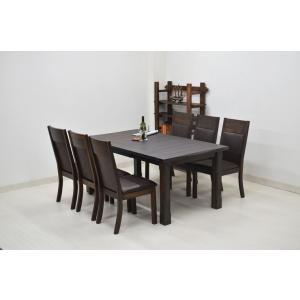 キズ物 天板アウトレット ダイニングテーブルセット 7点セット 伸張式 180cm/140cm amz-358  木製 現品 201607 ask|takara21