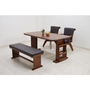 150ダイニングテーブルセット 4点 ベンチ ブラウン色 棚付き 収納 板 osyan-229 ocean157 osya 肘付き回転椅子 イスアウトレット sls85|takara21