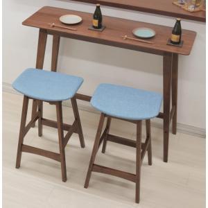 カウンターテーブルセット 幅120cm 高さ92cm pani120hi-366-339wnbl ウォールナット色 ブルー 木製 アウトレット 4s-2k hg|takara21