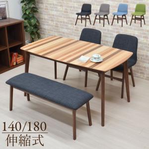 アウトレット ダイニングテーブルセット 140/180 4点セット 伸長式 pani140mix-4b-339wn イス2+ベンチ1 4人用 ミックス ファブリック 長椅子 16s-4k m80nk|takara21