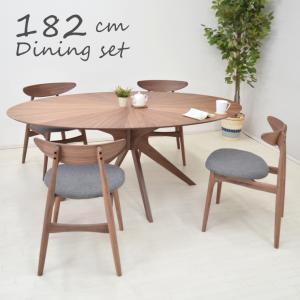 ダイニングテブルセット 丸テーブル 光線張り 楕円 182cm 5点セット 4人用 sbkt182-5-marut351wn ウォールナット色/WN ファブリック アウトレット 38s-4k so|takara21