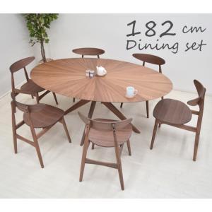 ダイニングテーブルセット 丸テーブル 光線張り 楕円 182cm 7点セット 6人用 sbkt182-7-marut351wn ウォールナット色/WN 板座 クロス脚 アウトレット 52s-5k|takara21