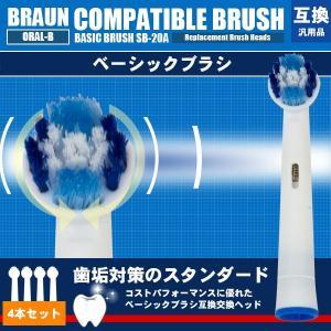 BRAUN ブラウン オーラルB ベーシックブラシ互換 4本入り 替えブラシ EB20-4 EB20-2対応 パーフェクトクリーン