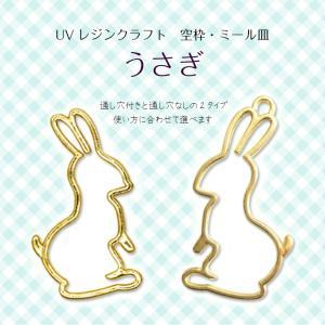 【メール便対応】UVレジンクラフト ミール皿・空枠 うさぎ 金・銀|takaranail
