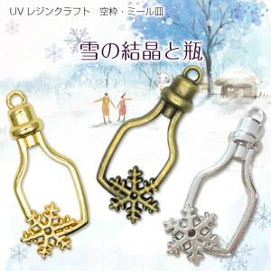 【メール便対応】UVレジンクラフト ミール皿・空枠 雪の結晶と瓶 金古美・金・銀|takaranail