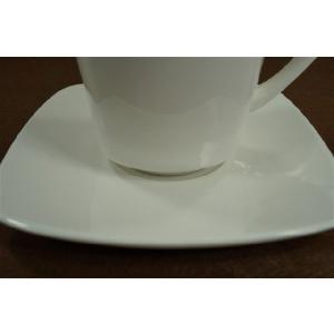 四角 13cm(外) 4.5cm(直径) 白い ホワイト コーヒーカップソーサー単品|takayama