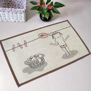 室内マット 麻 綿 バスマット かわいい お風呂 洗面所 丸洗いOK 洗える 滑り止め 北欧 インテリア 台所 足元 |takayama