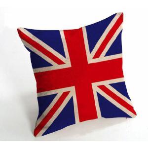 送料無料 DZ-0204 イギリス 国旗  綿麻クッションカバー 花柄  45cm×45cm 結婚祝い 新築祝い クッションカバー |takayama