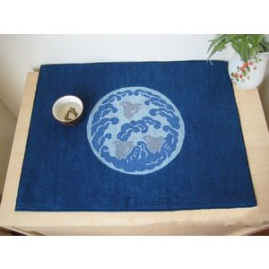 定形外可 日本製 ハンドメイド 和風 ランチマット 青|takayama