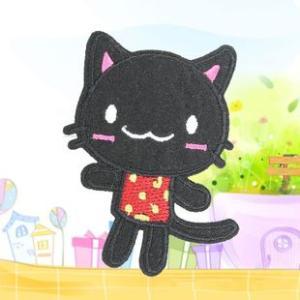 定形外可 ☆SS-7003 ☆ハンドメイド☆ 黒い猫 アイロンワッペン☆|takayama