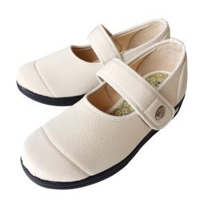 介護靴-外出用 彩彩~ちりめん~ W1101 22.0cm 3E ベージュ 女性用 在庫処分品 takecare-delivery
