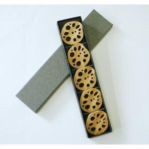 竹の箸置き 野菜シリーズ 『レンコン (5個) 箱入り』|takenomise|05