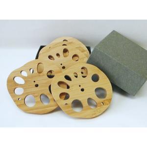 竹のレンコン型コースター【5枚箱入りセット】 takenomise