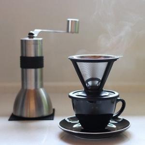 cera COFFEE ペーパーレスコーヒーフィルター ステンレス製コーヒードリッパー ダブルメッシ...