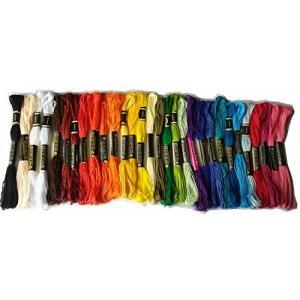 綿 25番刺繍糸 DMCと同じ色番号 常用色28色30本セット クロスステッチ、ミサンガ等に最適 (...