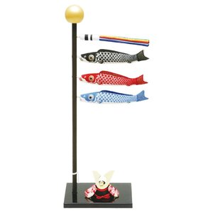 手作り 五月人形 ちりめん細工 『(小)染め 鯉のぼり』 玄関にも飾れる小型室内タイプ|takes-shop
