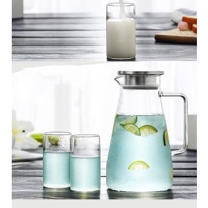 EVIICC ガラスポット 1.5リットル 耐熱 直火可 冷蔵庫 水出し 茶ポット ガラスピッチャー ステンレス茶こし付きジャグ|takes-shop