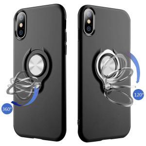 iPhone Xs Max ケースリング付き 落下防止 耐衝撃 タンド機能 メッキ加工 指紋防止 ス...