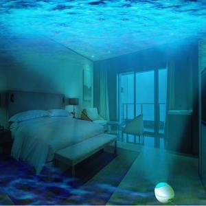 アップグレード版 海洋プロジェクターライト ベッドサイドランプ Bluetooth スピーカー リモコン式 投影ランプ 7色モード 三階段調
