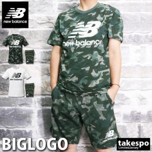 ニューバランス Tシャツ・スウェットハーフパンツ メンズ 上下 newbalance ビッグロゴ Tシャツセットアップ 半袖 トレーニングウエア あすつく 新作|takespo