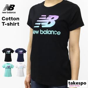 ニューバランス Tシャツ レディース 上 newbalance 春 夏 ビッグロゴ グラデーションロゴ 半袖 新作|takespo