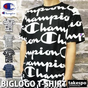 チャンピオン Tシャツ メンズ 上 Champion 総柄 ビッグロゴ 速乾 防臭 ドライ C-VAPOR アウトレット SALE セール|takespo