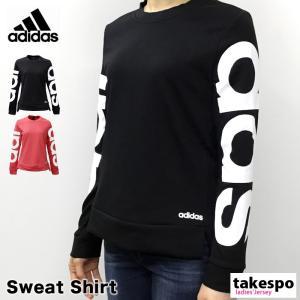 アディダス スウェットシャツ レディース 上 adidas 春 夏 ビッグロゴ ピンク 長袖 トレーニングウエア あすつく アウトレット SALE セール|takespo