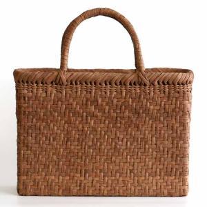 【国産】 山ぶどう網代編み手提げ籠バッグ内布付(角)|taketora