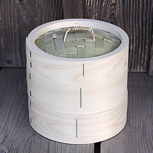 【国産】檜中華蒸籠(せいろ) 蒸し料理が美味しくできる日本製蒸し器 18cm身蓋二段セット|taketora