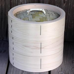 【国産】檜中華蒸籠(せいろ) 蒸し料理が美味しくできる 日本製蒸し器24cm身蓋二段セット|taketora