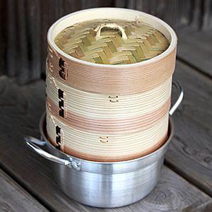 杉蒸籠(セイロ)15cm2段鍋付きセット|taketora