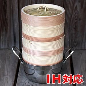 杉蒸篭(せいろ)15cm3段ガスコンロ・IH対応鍋つきセット|taketora