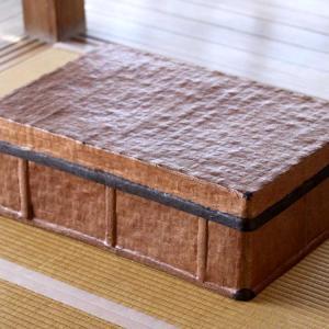 【予約販売】竹素地に土佐和紙、柿渋仕上げ 一閑張り行李 taketora