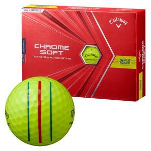 ゴルフボール キャロウェイ Callaway クロムソフト CHROME SOFT 1ダース 12球 メンズ レディース トリプル トラック 3ライン スリーライン 黄色 イエロー|takeuchi-golf