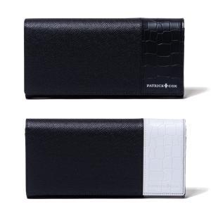パトリックコックス 財布 長財布 メンズ L字ファスナー PATRICK COX メンズ財布 さいふ エンボス 牛革 小銭入れ ポケット 黒 ブラック 白 ホワイト PXMW0PT1|takeuchi-golf