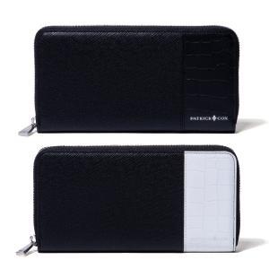 パトリックコックス 財布 長財布 メンズ ラウンドファスナー PATRICK COX メンズ財布 さいふ エンボス 牛革 小銭入れ ポケット 黒 ブラック 白 ホワイト PXMW0PT|takeuchi-golf