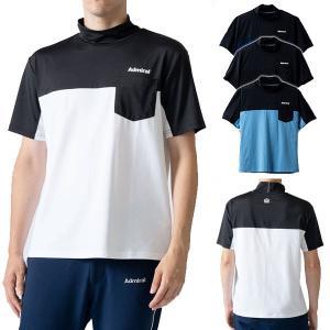 アドミラル アスレ シャツ メンズ 半袖 ハイネック Tシャツ モックシャツ UV 吸水速乾 ポケット 無地 黒 ブラック 白 ホワイト 青 ブルー 紺 ネイビー ATMA112 takeuchi-golf
