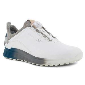 エコー ゴルフ メンズ シューズ 靴 ゴルフシューズ スパイクレス 鋲なし ボア ダイヤル式 防水性 ゴアテックス エス スリー S-THREE 最新モデル 白 ホワイト 102 takeuchi-golf
