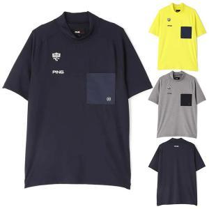 30%オフ ピンアパレル ゴルフ モックネックシャツ 半袖 メンズ シャツ モックシャツ ゴルフウェア 吸水 速乾 胸ポケット 無地 グレー イエロー ネイビー 621116 takeuchi-golf