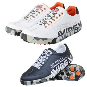 アビレックス ゴルフ シューズ 靴 メンズ ゴルフシューズ スパイクレス 鋲なし 紐 カモフラ ミリタリー カジュアル AVIREX GOLF 白 ホワイト AXG-20FW-ACN19|takeuchi-golf