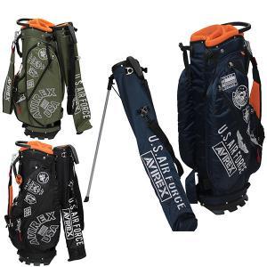アビレックス ゴルフ キャディバッグ メンズ レディース 9.5型 約3.8kg 46インチ 5分割 スタンド 2way レア ブランド AVIREX GOLF 黒 紺 カーキ AVXBA1-1CB|takeuchi-golf