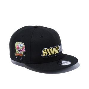 ニューエラ キャップ 帽子 メンズ レディース スポンジボブ 9FIFTY 黒 NEW ERA シール アジャスタブル サイズ調節 フラットバイザー スナップバック 12742705|takeuchi-golf