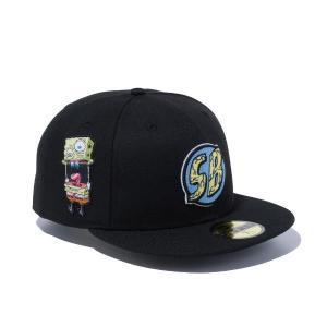 ニューエラ キャップ 帽子 メンズ レディース スポンジボブ 59FIFTY 無地 黒 ブラック 刺繍 NEW ERA ベースボールキャップ シール フラットバイザー 12742744|takeuchi-golf