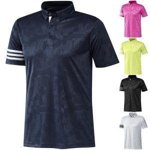 30%オフ アディダス ゴルフ シャツ 半袖 ポロシャツ メンズ ボタンダウンシャツ エンボスプリント ゴルフウェア adidas ホワイト ブラック ネイビー ピンク イエ takeuchi-golf