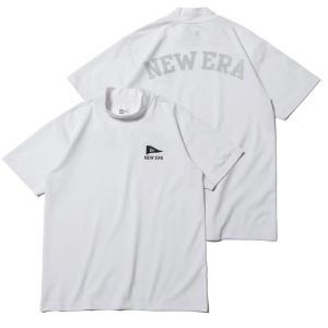 ニューエラ ゴルフ シャツ 半袖 メンズ レディース Tシャツ ミドルネック 鹿の子 吸汗速乾 紫外線カット 通気性 NEW ERA 無地 白 ホワイト 春 夏 秋 12674295|takeuchi-golf